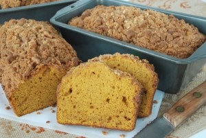 Pumpkin Spice Bread with White Chocolate Streusel