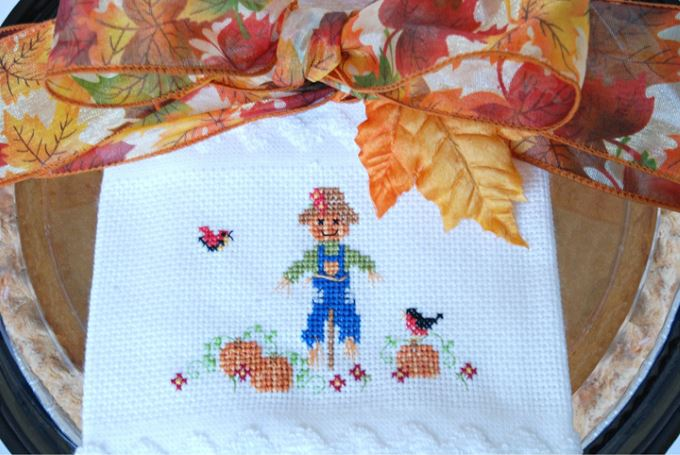Scarecrow Cross Stitch Towel (with pumpkin pie)