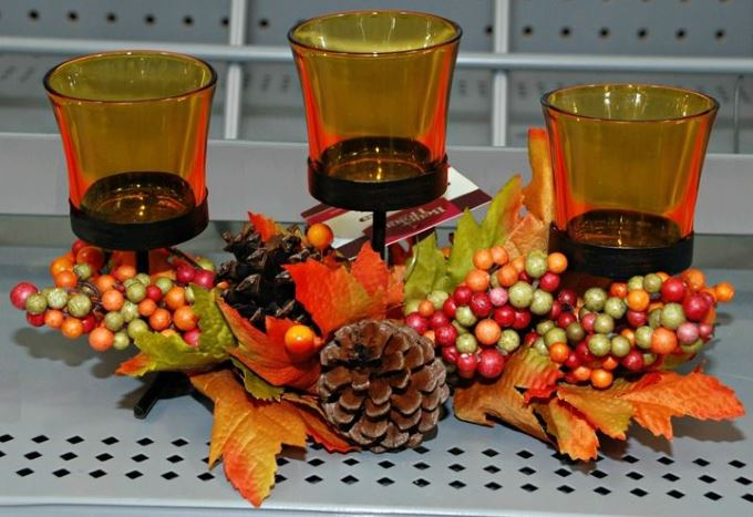 Fall Decor - Votive Rail (Pinecones and Leaves)