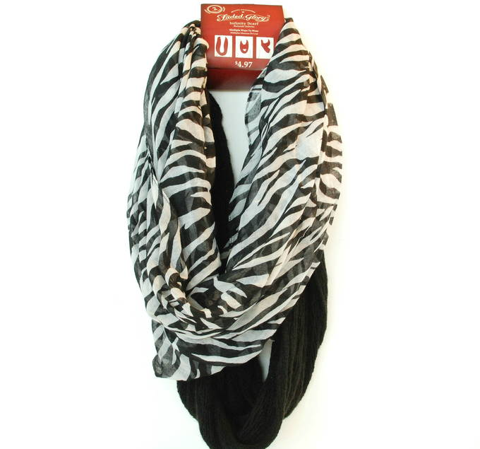 Fashionably Warm - Faded Glory Infinity Scarf – Sketchy Zebra White Combo
