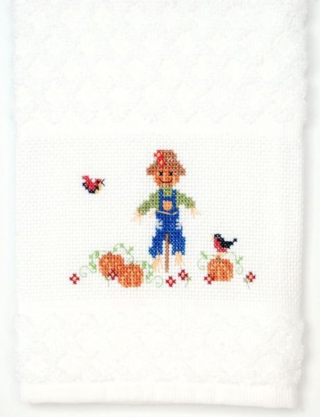 Scarecrow Cross Stitch Towel - Full Length