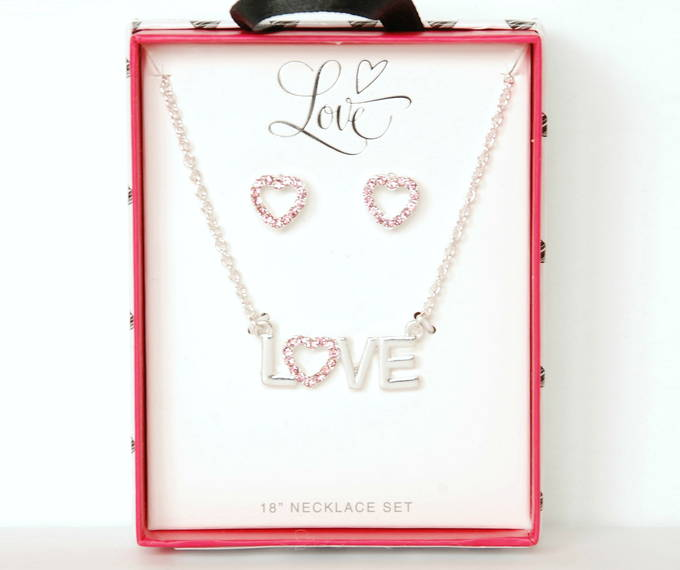 "Valentines Day Gifts for Kids - Love 18"" Necklace, Earring Set"