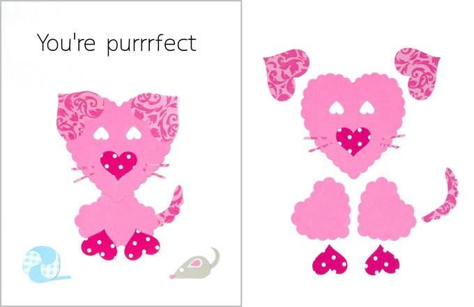 Heart Shaped Animals on Valentine Cards - Cat Card