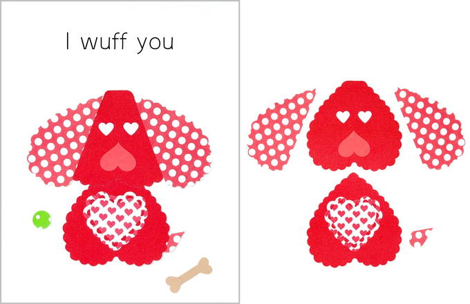 Heart Shaped Animals on Valentine Cards - Dog Card