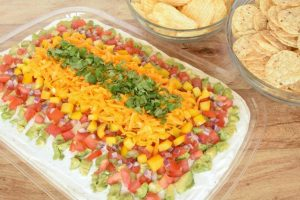 Colorful Layered Veggie Chip Dip