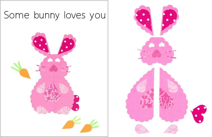 Heart Shaped Animals on Valentine Cards - Bunny Card | yesilovewalmart.com
